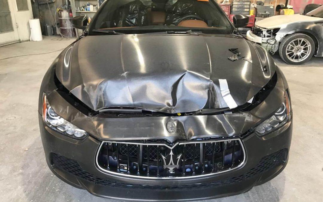 2017 Maserati Ghibli front-end damage repair project