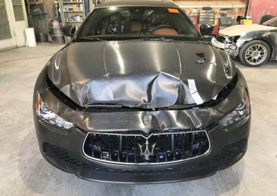 2017 Maserati Ghibli front-end damage repair project
